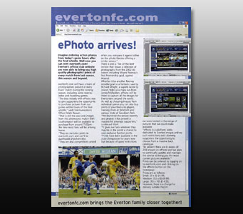 Everton programme article about ePhoto's launch - Click for PDF